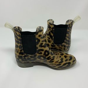 Chelsea Boots Cheetah Print Waterproof Rain Boot